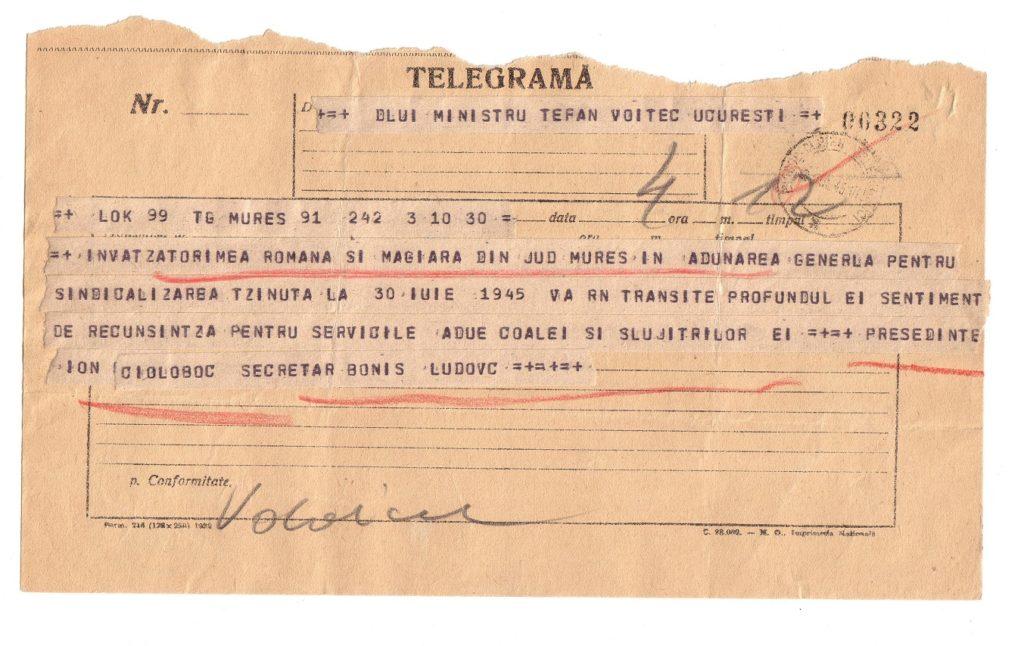telegramă din)